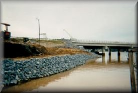 Grading work being done at the Buster Boyd Bridge in Lake Wylie, SC